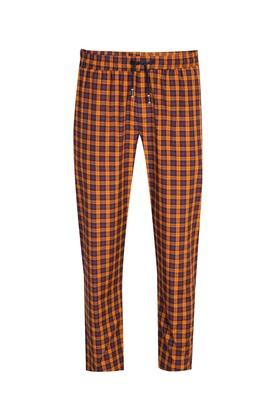 Erkek Giyim - ORTA TURUNCU L Beden Ekose Pijama Altı