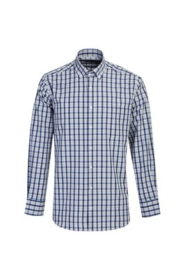 Erkek Giyim - KOYU LACİVERT 3X Beden Uzun Kol Regular Fit Ekose Gömlek