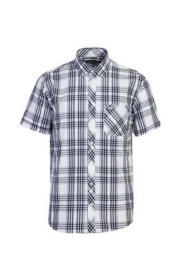 Erkek Giyim - AÇIK LACİVERT 3X Beden Kısa Kol Regular Fit Ekose Gömlek