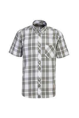 Erkek Giyim - ORTA HAKİ 3X Beden Kısa Kol Regular Fit Ekose Gömlek