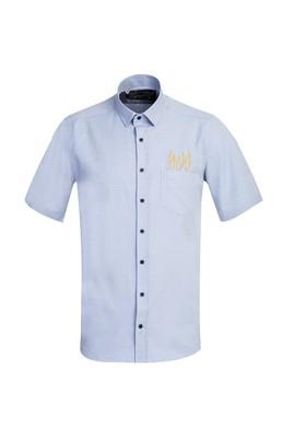 Erkek Giyim - GÖK MAVİSİ 4X Beden Kısa Kol Regular Fit Nakışlı Gömlek