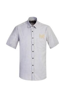 Erkek Giyim - AÇIK BORDO 3X Beden Kısa Kol Regular Fit Nakışlı Gömlek