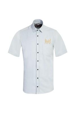 Erkek Giyim - FISTIK YEŞİLİ L Beden Kısa Kol Regular Fit Nakışlı Gömlek