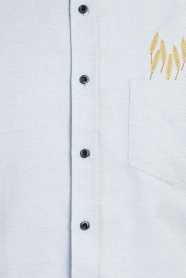Kısa Kol Regular Fit Nakışlı Gömlek