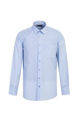 Erkek Giyim - AÇIK MAVİ L Beden Uzun Kol Regular Fit Desenli Gömlek