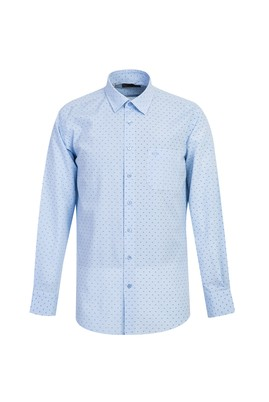 Erkek Giyim - AÇIK MAVİ LOT1 L Beden Uzun Kol Regular Fit Desenli Gömlek