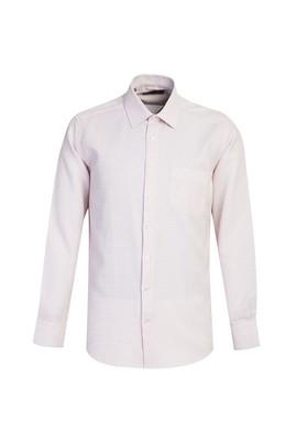 Erkek Giyim - AÇIK KIRMIZI L Beden Uzun Kol Regular Fit Desenli Gömlek