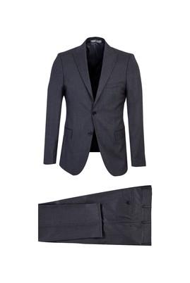 Erkek Giyim - AÇIK FÜME 48 Beden Desenli Klasik Takım Elbise