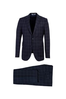 Erkek Giyim - ORTA LACİVERT 44 Beden Kareli Slim Fit Takım Elbise