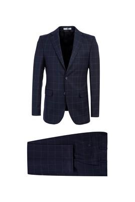 Erkek Giyim - KOYU LACİVERT 48 Beden Regular Fit Kareli Takım Elbise