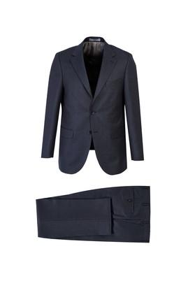 Erkek Giyim - SİYAH LACİVERT 48 Beden Kuşgözü Klasik Takım Elbise