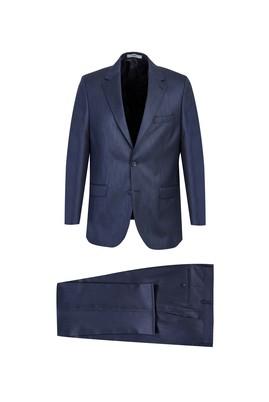 Erkek Giyim - KOYU LACİVERT 48 Beden Desenli Klasik Takım Elbise