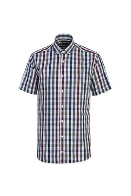 Erkek Giyim - ORTA GRİ 3X Beden Kısa Kol Regular Fit Ekose Gömlek