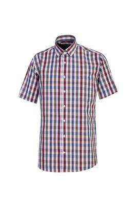 Erkek Giyim - ORTA PEMBE 3X Beden Kısa Kol Regular Fit Ekose Gömlek