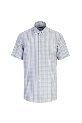 Erkek Giyim - AÇIK TURUNCU 3X Beden Kısa Kol Regular Fit Ekose Gömlek