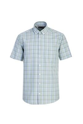 Erkek Giyim - FISTIK YEŞİLİ M Beden Kısa Kol Regular Fit Ekose Gömlek