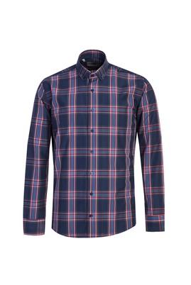 Erkek Giyim - KOYU LACİVERT L Beden Uzun Kol Ekose Slim Fit Gömlek