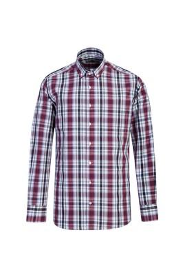 Erkek Giyim - BAYRAK KIRMIZI 3X Beden Uzun Kol Regular Fit Ekose Gömlek