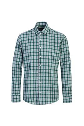 Erkek Giyim - ÇİMEN YEŞİLİ L Beden Uzun Kol Ekose Slim Fit Gömlek