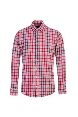 Erkek Giyim - BAYRAK KIRMIZI L Beden Uzun Kol Ekose Slim Fit Gömlek