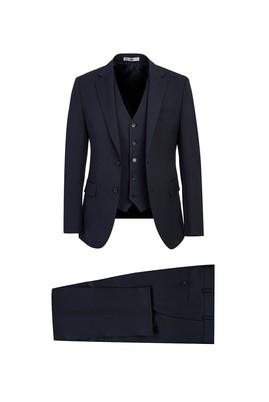 Erkek Giyim - KOYU LACİVERT 42 Beden Slim Fit Yelekli Takım Elbise