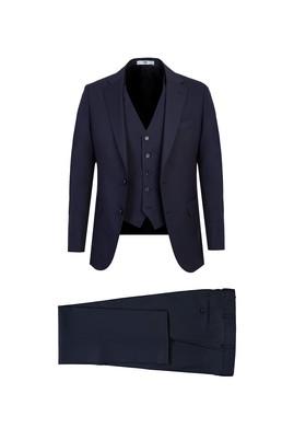 Erkek Giyim - KOYU LACİVERT 48 Beden Klasik Yelekli Takım Elbise