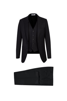 Erkek Giyim - SİYAH 56 Beden Yelekli Slim Fit Takım Elbise