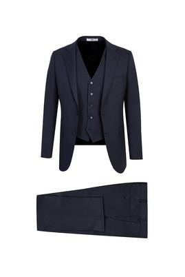 Erkek Giyim - KOYU LACİVERT 60 Beden Yelekli Klasik Takım Elbise