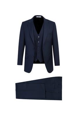 Erkek Giyim - ORTA LACİVERT 48 Beden Yelekli Klasik Takım Elbise