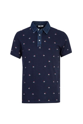 Erkek Giyim - KOYU LACİVERT L Beden Polo Yaka Baskılı Slim Fit Tişört