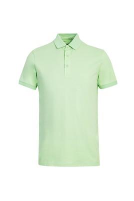 Erkek Giyim - ÇAĞLA YEŞİLİ XL Beden Polo Yaka Slim Fit Tişört