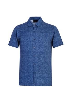 Erkek Giyim - KOYU LACİVERT S Beden Polo Yaka Slim Fit Düğmeli Desenli Tişört
