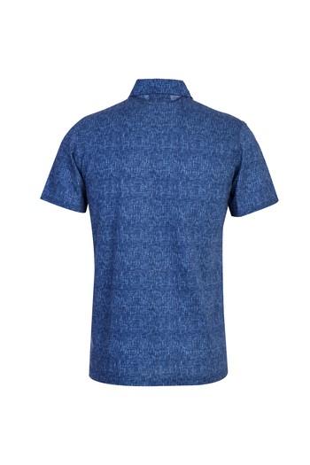 Erkek Giyim - Polo Yaka Slim Fit Düğmeli Desenli Tişört