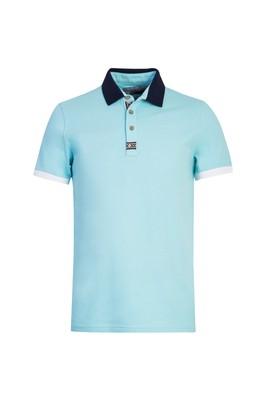 Erkek Giyim - SU MAVİSİ L Beden Polo Yaka Desenli Slim Fit Tişört