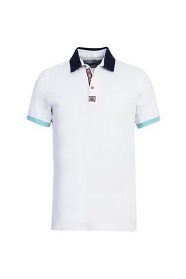 Erkek Giyim - BEYAZ L Beden Polo Yaka Desenli Slim Fit Tişört