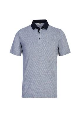 Erkek Giyim - AÇIK LACİVERT L Beden Polo Yaka Desenli Regular Fit Tişört