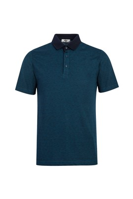 Erkek Giyim - ORTA PETROL L Beden Polo Yaka Desenli Regular Fit Tişört