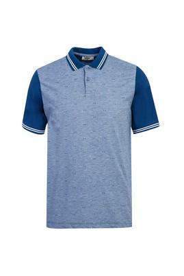 Erkek Giyim - KOYU MAVİ L Beden Polo Yaka Desenli Regular Fit Tişört