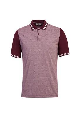 Erkek Giyim - KOYU BORDO L Beden Polo Yaka Desenli Regular Fit Tişört