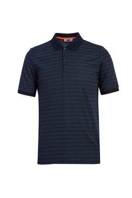 Erkek Giyim - KOYU LACİVERT 3X Beden Polo Yaka Desenli Regular Fit Tişört