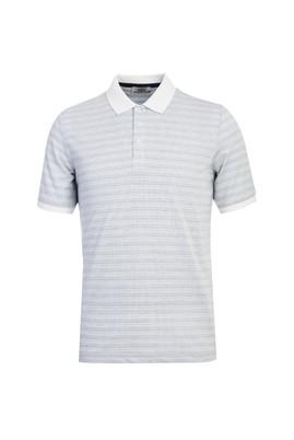 Erkek Giyim - BEYAZ L Beden Polo Yaka Desenli Regular Fit Tişört