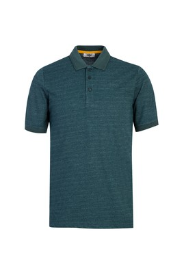 Erkek Giyim - KOYU YEŞİL L Beden Polo Yaka Desenli Regular Fit Tişört