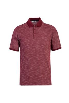 Erkek Giyim - KOYU BORDO M Beden Polo Yaka Desenli Regular Fit Tişört