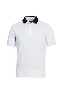 Erkek Giyim - BEYAZ XXL Beden Polo Yaka Desenli Regular Fit Tişört