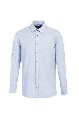 Erkek Giyim - UÇUK MAVİ L Beden Uzun Kol Regular Fit Desenli Gömlek