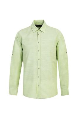 Erkek Giyim - FISTIK YEŞİLİ L Beden Uzun Kol Regular Fit Desenli Gömlek