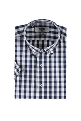 Erkek Giyim - KOYU LACİVERT L Beden Kısa Kol Ekose Slim Fit Gömlek