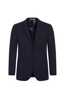 Erkek Giyim - KOYU LACİVERT 48 Beden Regular Fit Kuşgözü Ceket