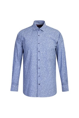Erkek Giyim - KOYU MAVİ L Beden Uzun Kol Regular Fit Çizgili Gömlek