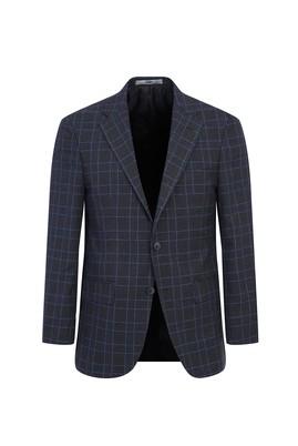Erkek Giyim - ORTA FÜME 54 Beden Regular Fit Ekose Ceket